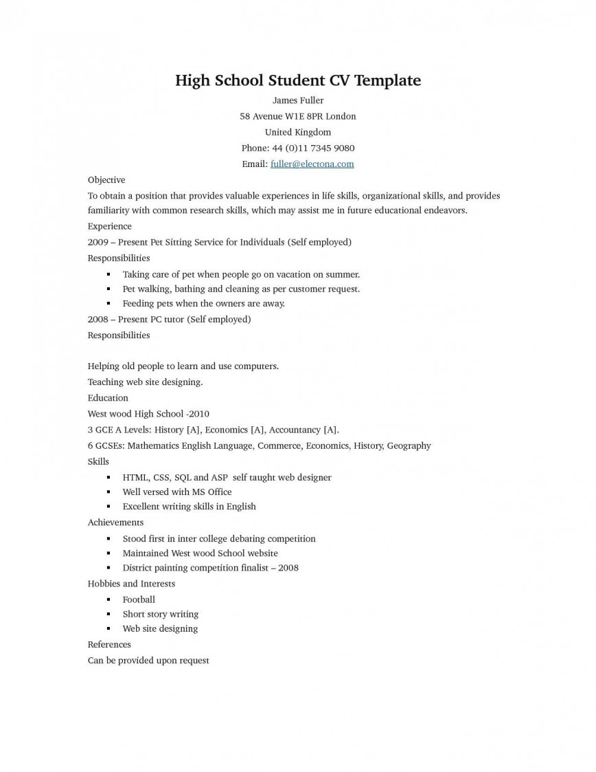 007 Phenomenal Free Sample High School Resume Template Resolution