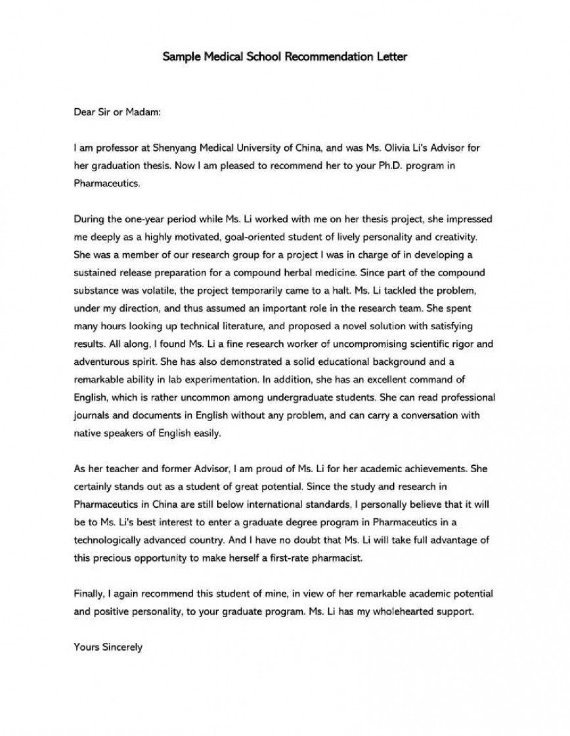 007 Phenomenal Letter Of Recommendation Template Photo  Word Sample For College Admission Student Doc1920