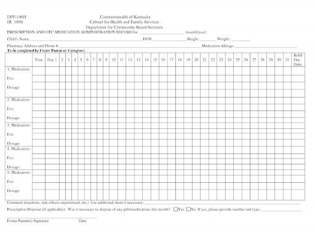 007 Phenomenal Medication Administration Record Template Excel Highest Quality  MonthlyLarge