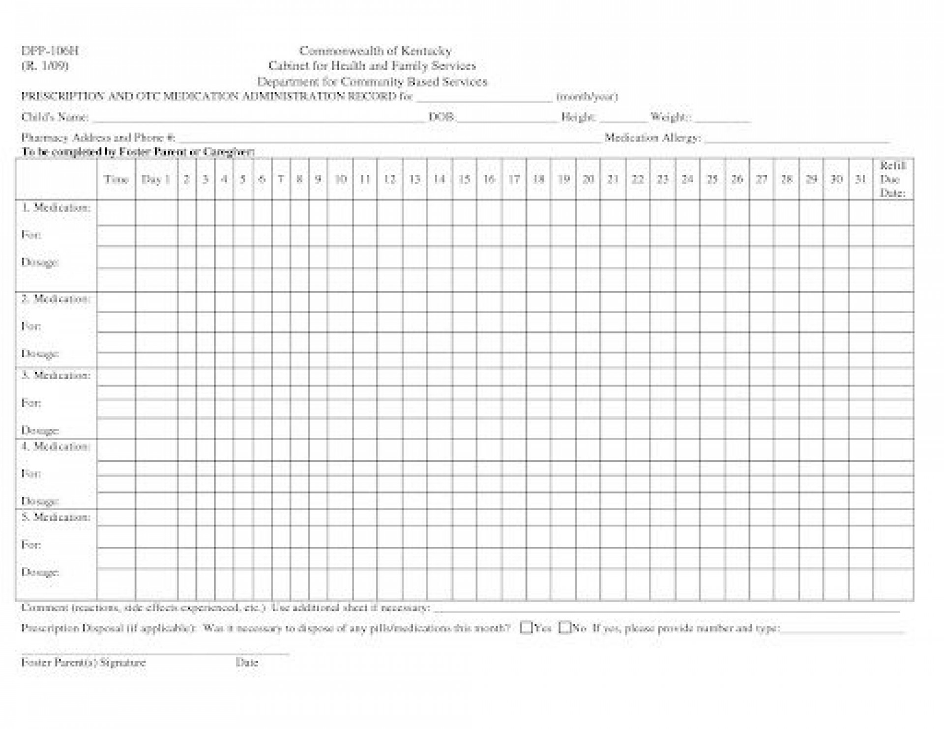 007 Phenomenal Medication Administration Record Template Excel Highest Quality  Monthly1920