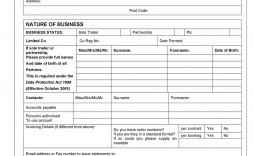 007 Phenomenal New Customer Account Setup Form Template Image  Word Client