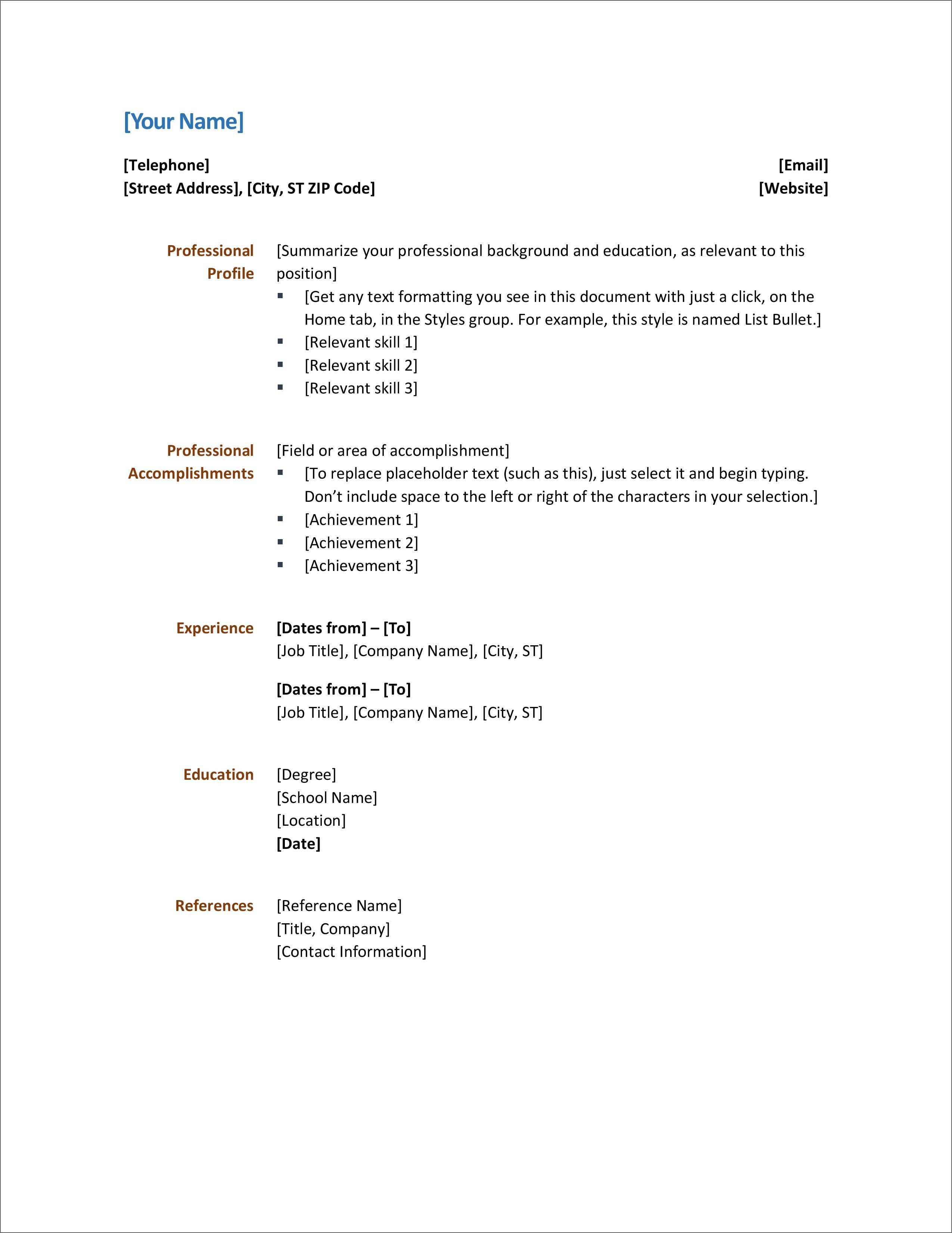 007 Phenomenal Resume Template Word 2007 Free Concept  Microsoft Office For MFull