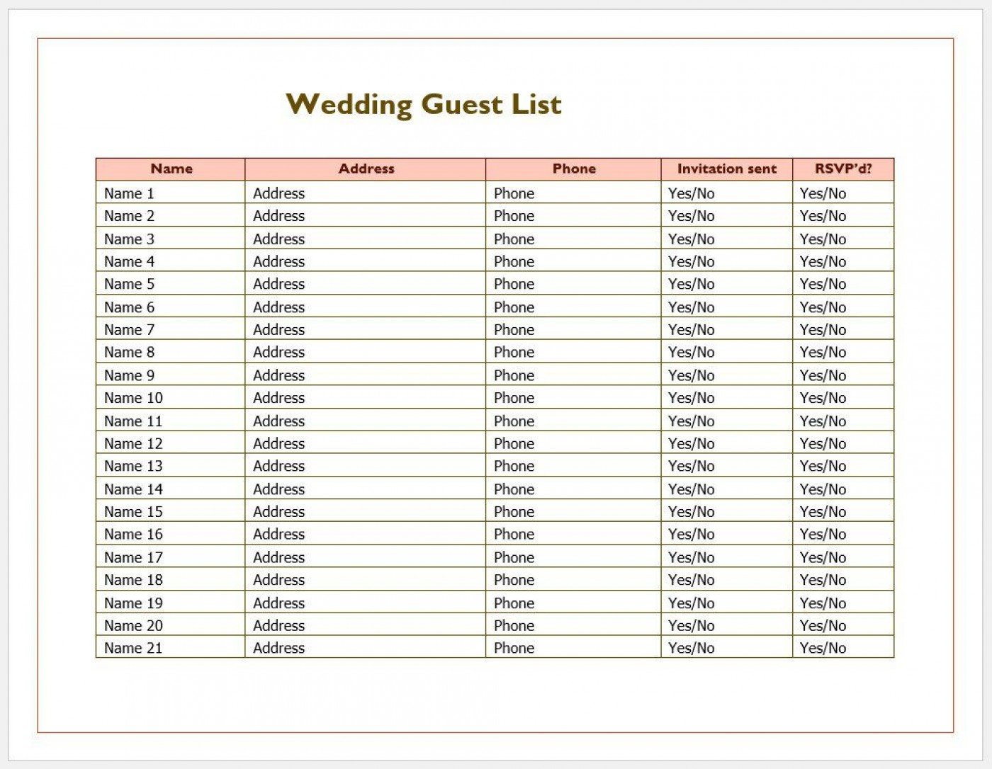 007 Phenomenal Wedding Guest List Excel Spreadsheet Template Image 1400