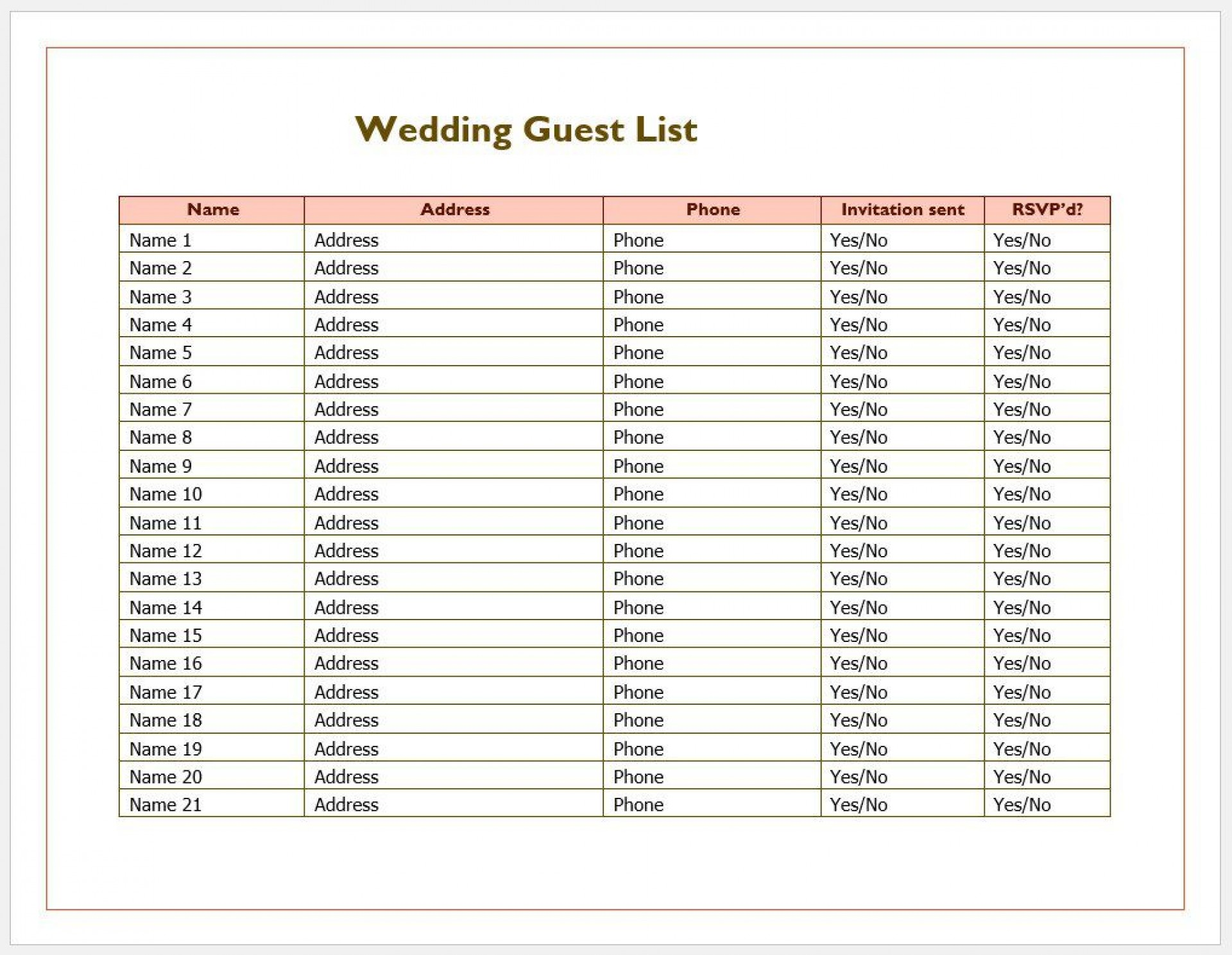 007 Phenomenal Wedding Guest List Excel Spreadsheet Template Image 1920