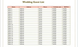 007 Phenomenal Wedding Guest List Excel Spreadsheet Template Image