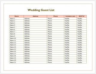 007 Phenomenal Wedding Guest List Excel Spreadsheet Template Image 320