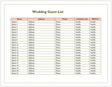 007 Phenomenal Wedding Guest List Excel Spreadsheet Template Image 360