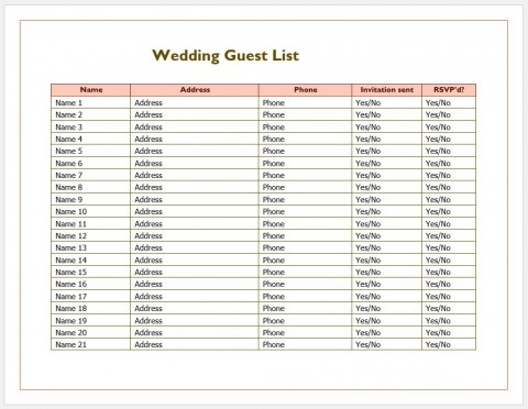 007 Phenomenal Wedding Guest List Excel Spreadsheet Template Image 480