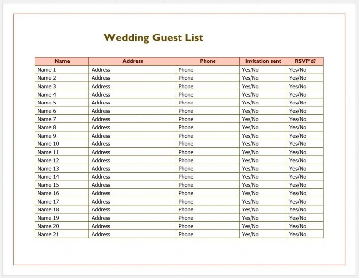 007 Phenomenal Wedding Guest List Excel Spreadsheet Template Image 728