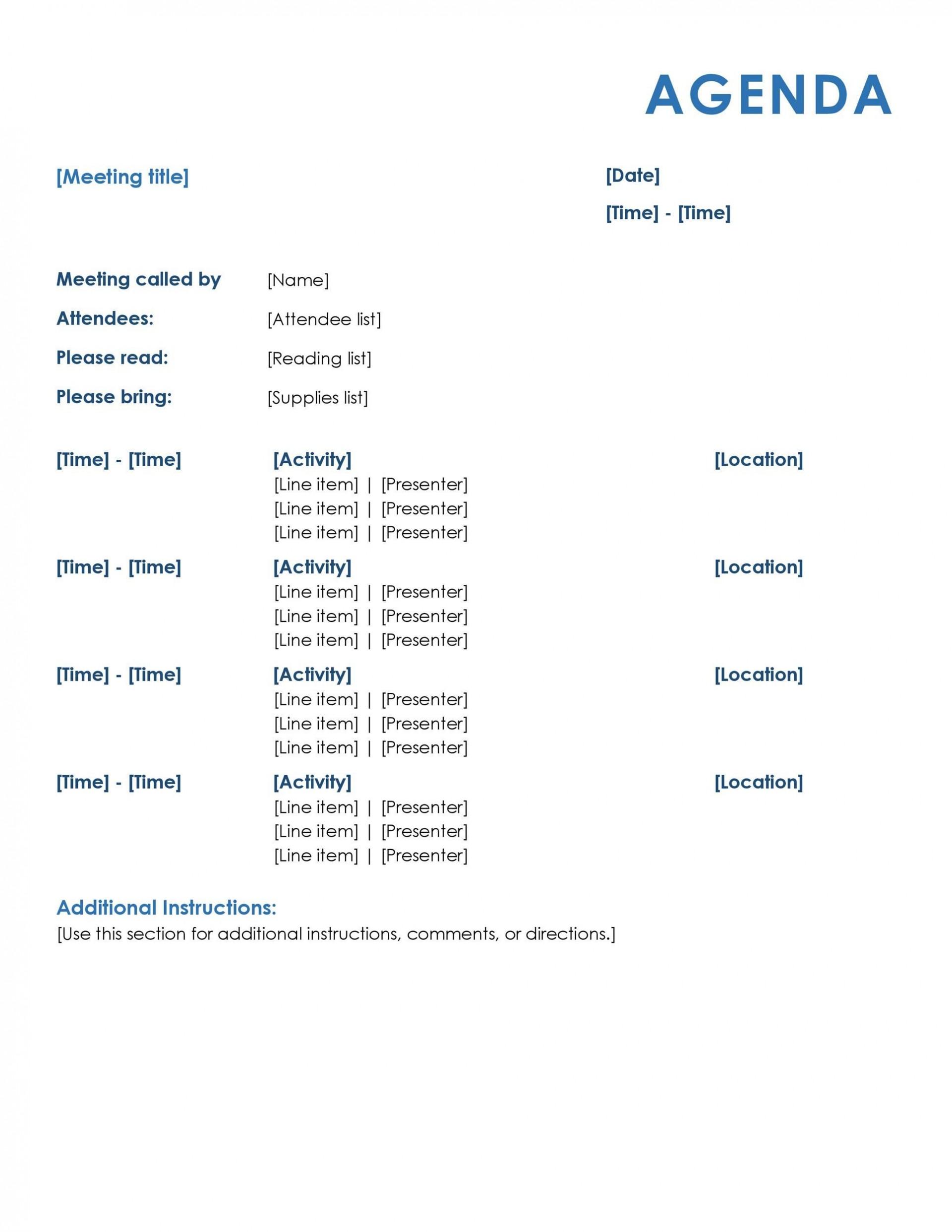 007 Rare Formal Meeting Agenda Format Idea  Example Template Ppt1920
