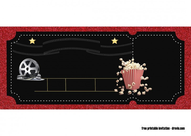 007 Rare Free Printable Movie Ticket Birthday Party Invitation Sample 728