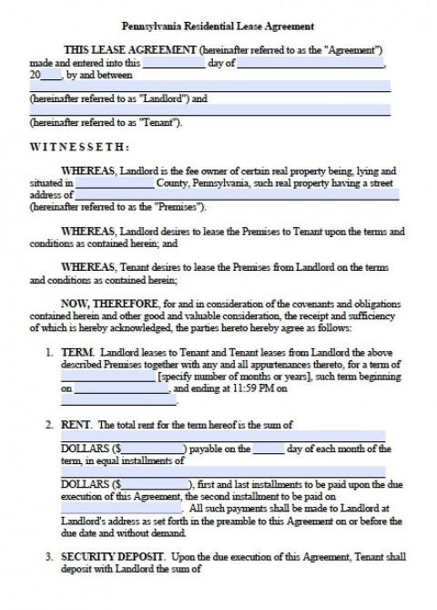 007 Rare Generic Rental Lease Agreement Image  Sample Ohio Md Illinoi480