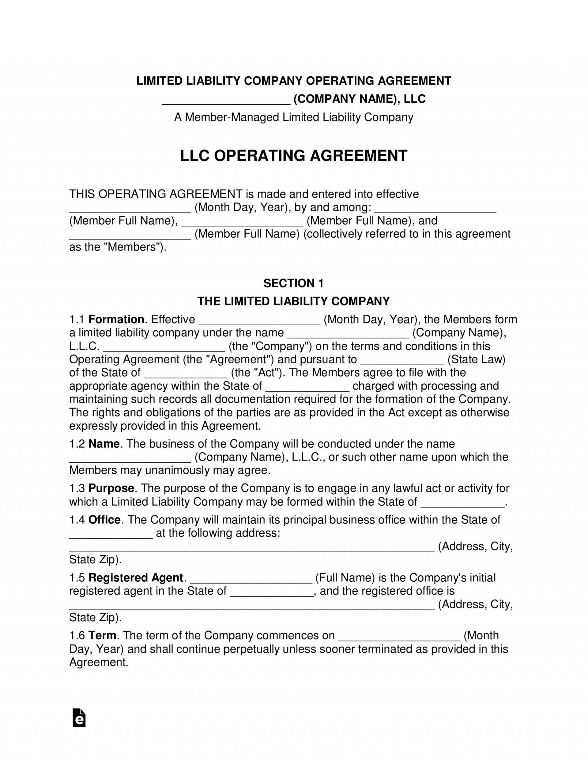 007 Rare Llc Operating Agreement Template Free Photo  Single Member Pdf Simple Download1920
