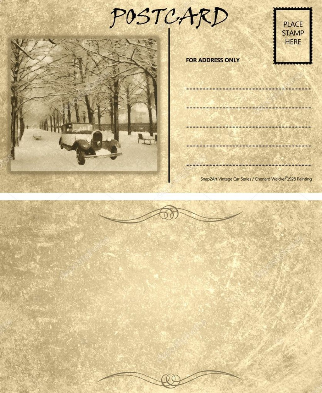 007 Rare Postcard Template Front And Back Design  Free WordLarge