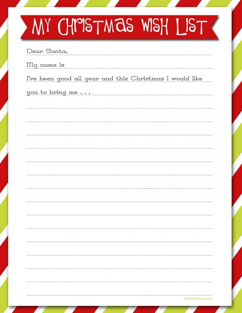 007 Rare Printable Wish List Template High Resolution  Cute Christma Free HolidayLarge