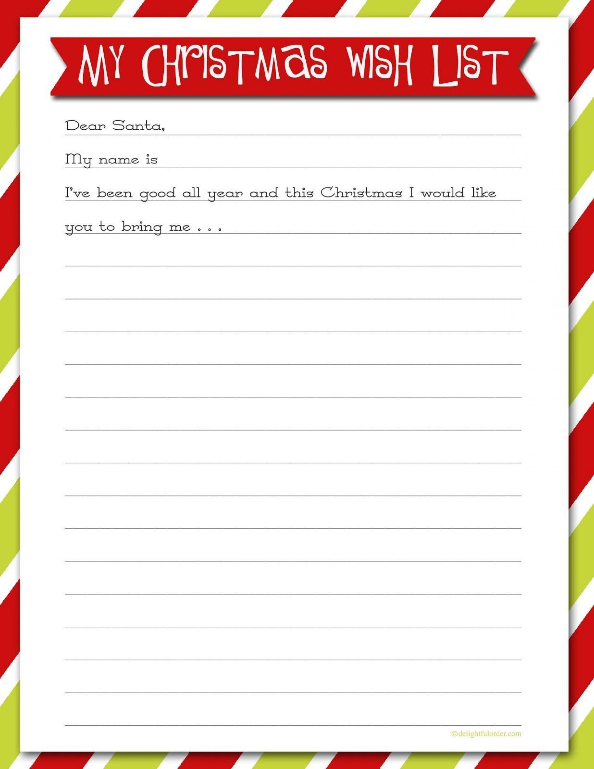 007 Rare Printable Wish List Template High Resolution  Cute Christma Free Holiday1920