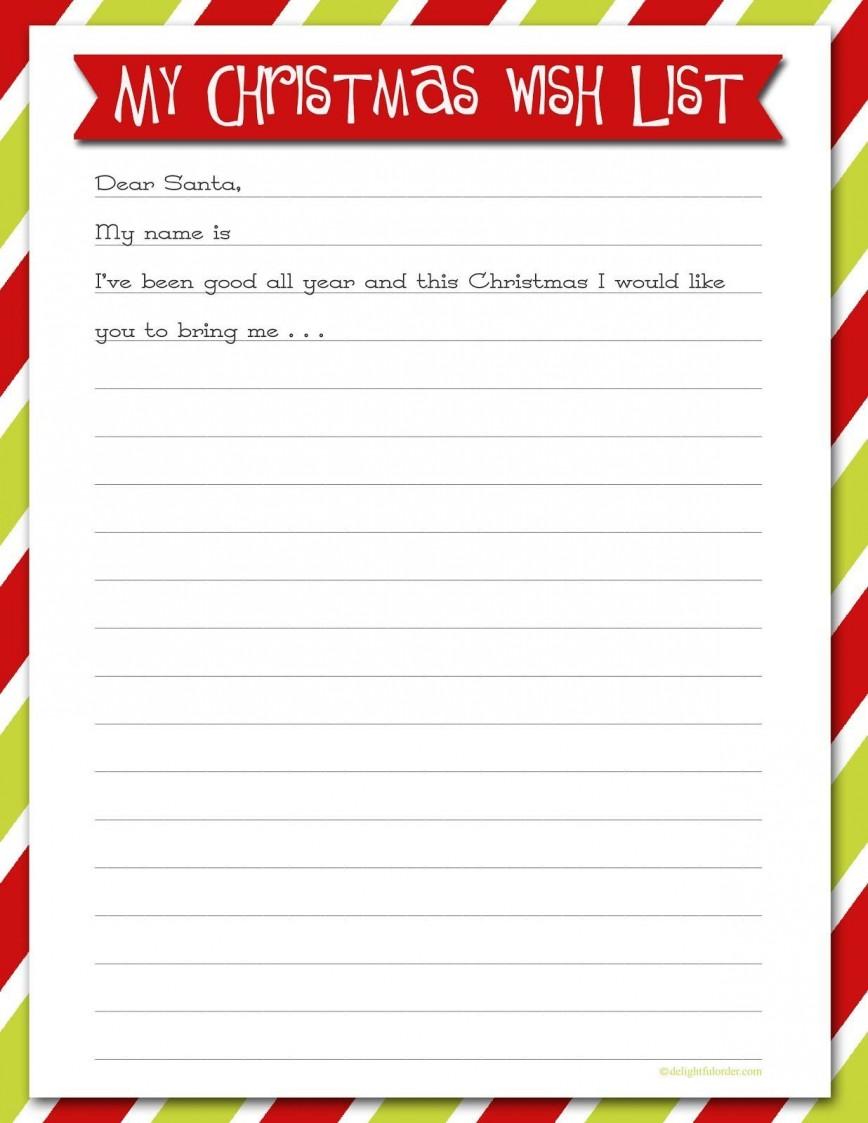007 Rare Printable Wish List Template High Resolution  Santa Free Secret868