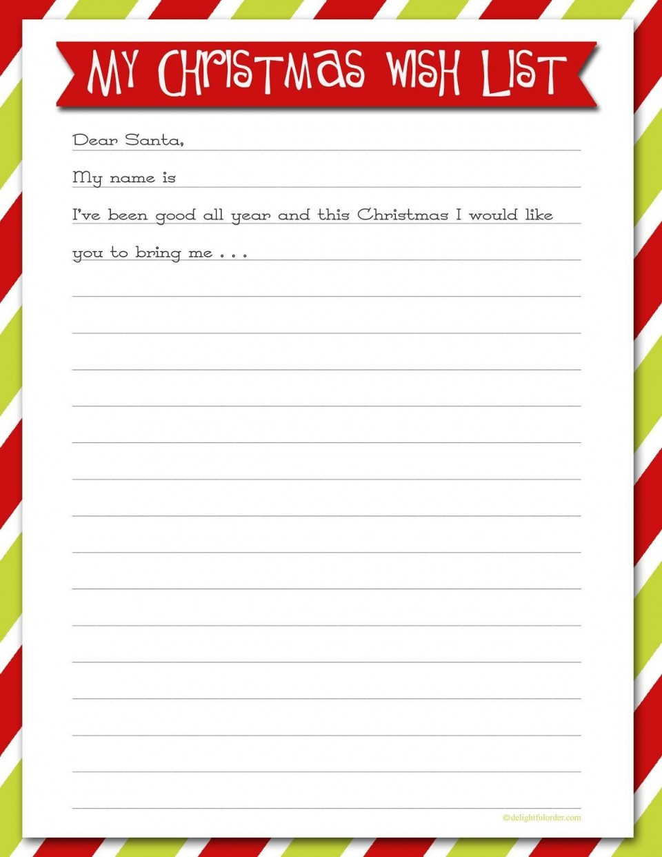 007 Rare Printable Wish List Template High Resolution  Santa Free Secret960