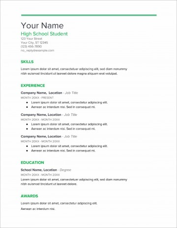 007 Rare Resume Template High School Student Example  Sample First Job360