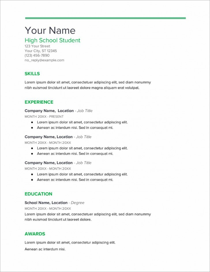 007 Rare Resume Template High School Student Example  Sample First Job728