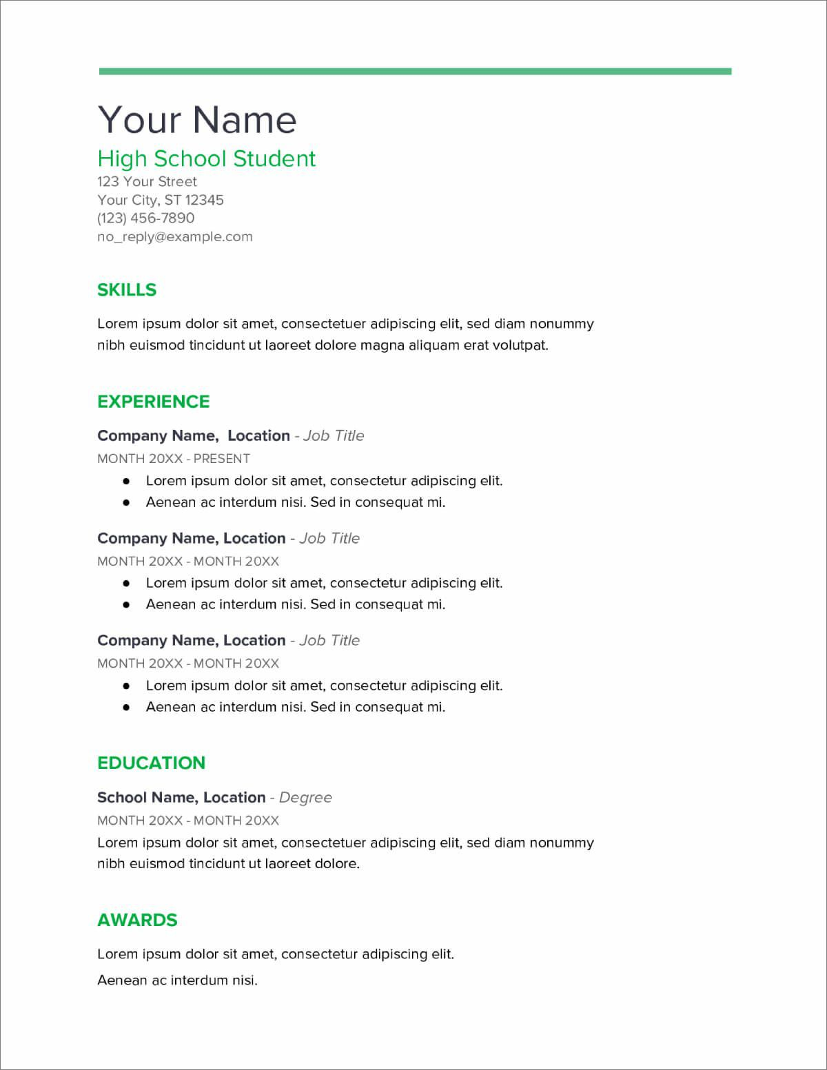 007 Rare Resume Template High School Student Example  Students Easy For Curriculum Vitae Format Pdf Free DownloadableFull