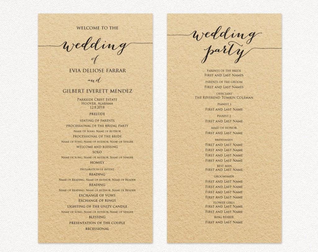 007 Rare Template For Wedding Program Example  Word Free CatholicLarge