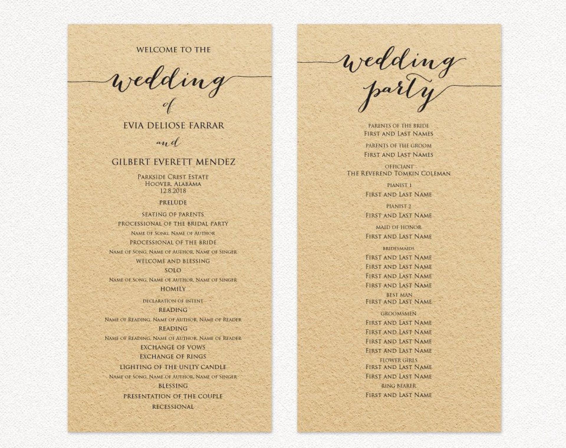 007 Rare Template For Wedding Program Example  Word Free Catholic1920