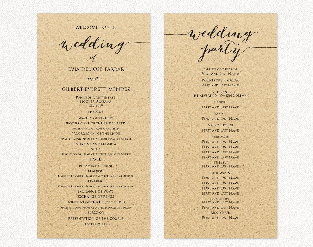 007 Rare Template For Wedding Program Example  Word Free CatholicFull