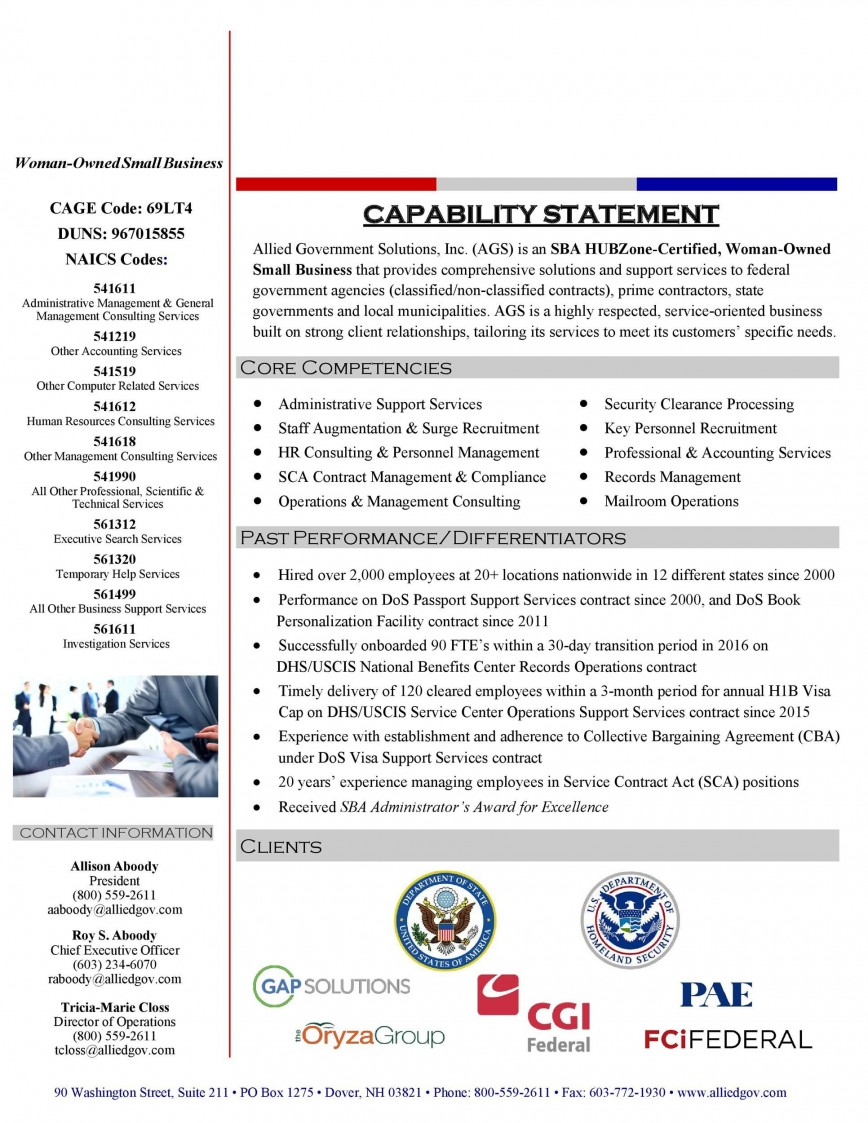 007 Remarkable Capability Statement Template Free Inspiration  Format Word Editable
