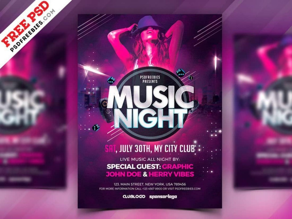 007 Remarkable Club Party Flyer Template Free Example Large