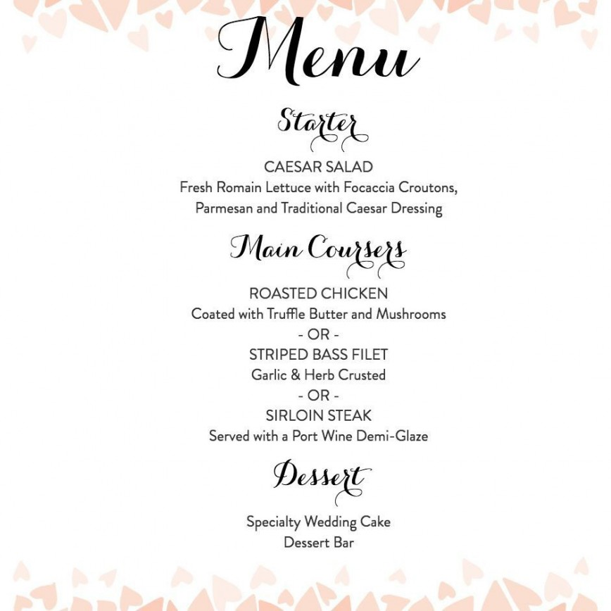 007 Remarkable Diy Wedding Menu Template Highest Quality  Free Card