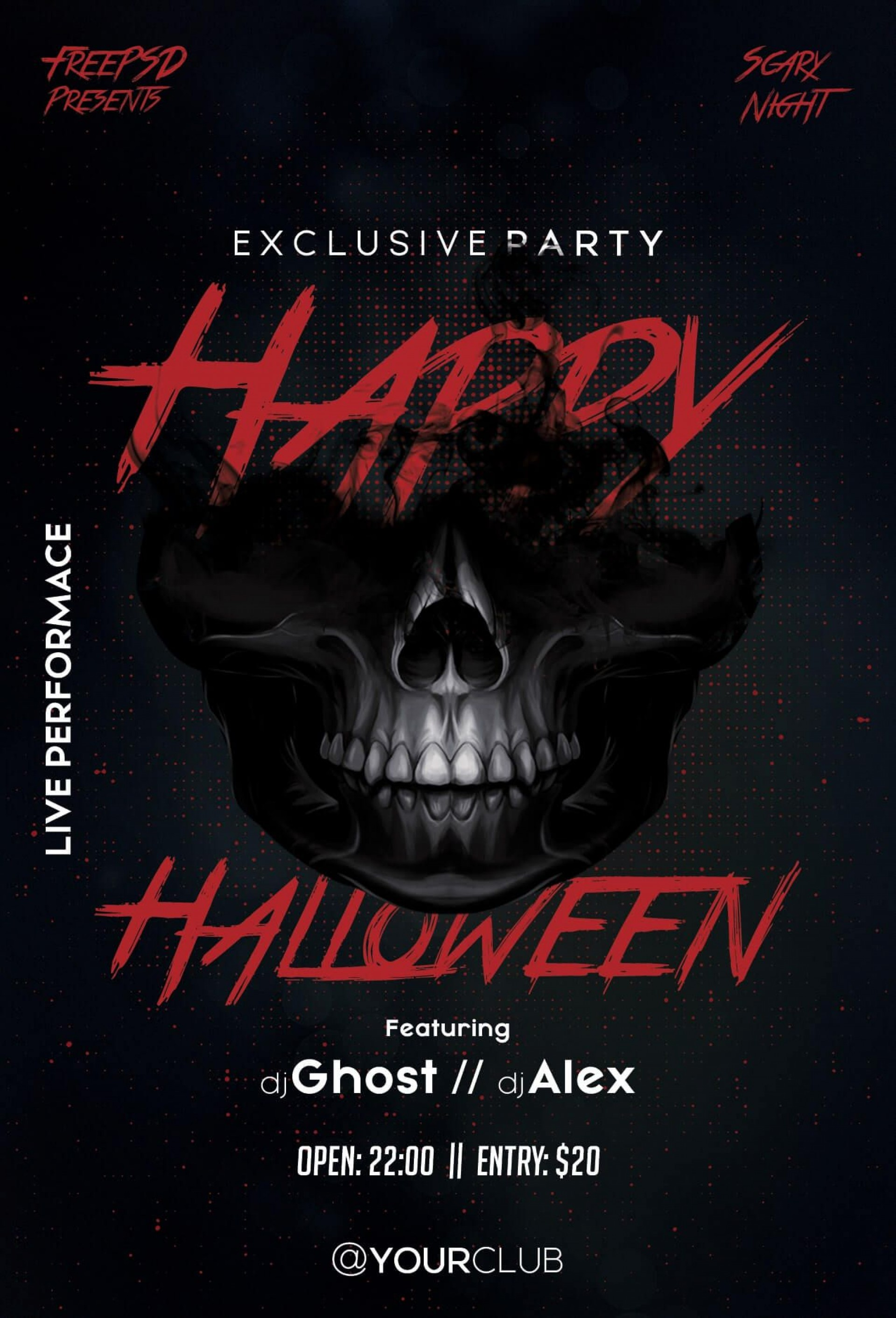 007 Remarkable Free Halloween Party Flyer Template Inspiration  Templates1920