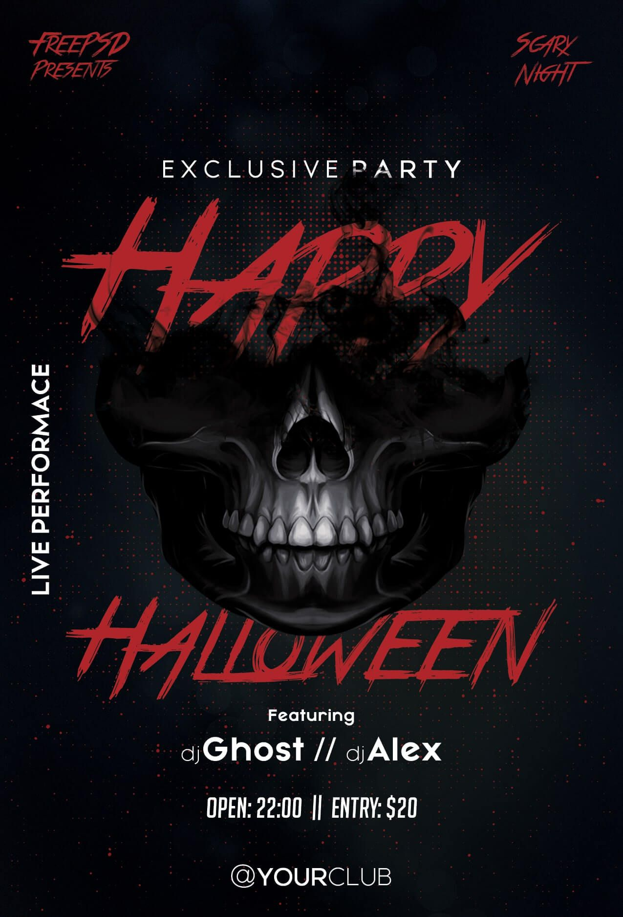 007 Remarkable Free Halloween Party Flyer Template Inspiration  TemplatesFull