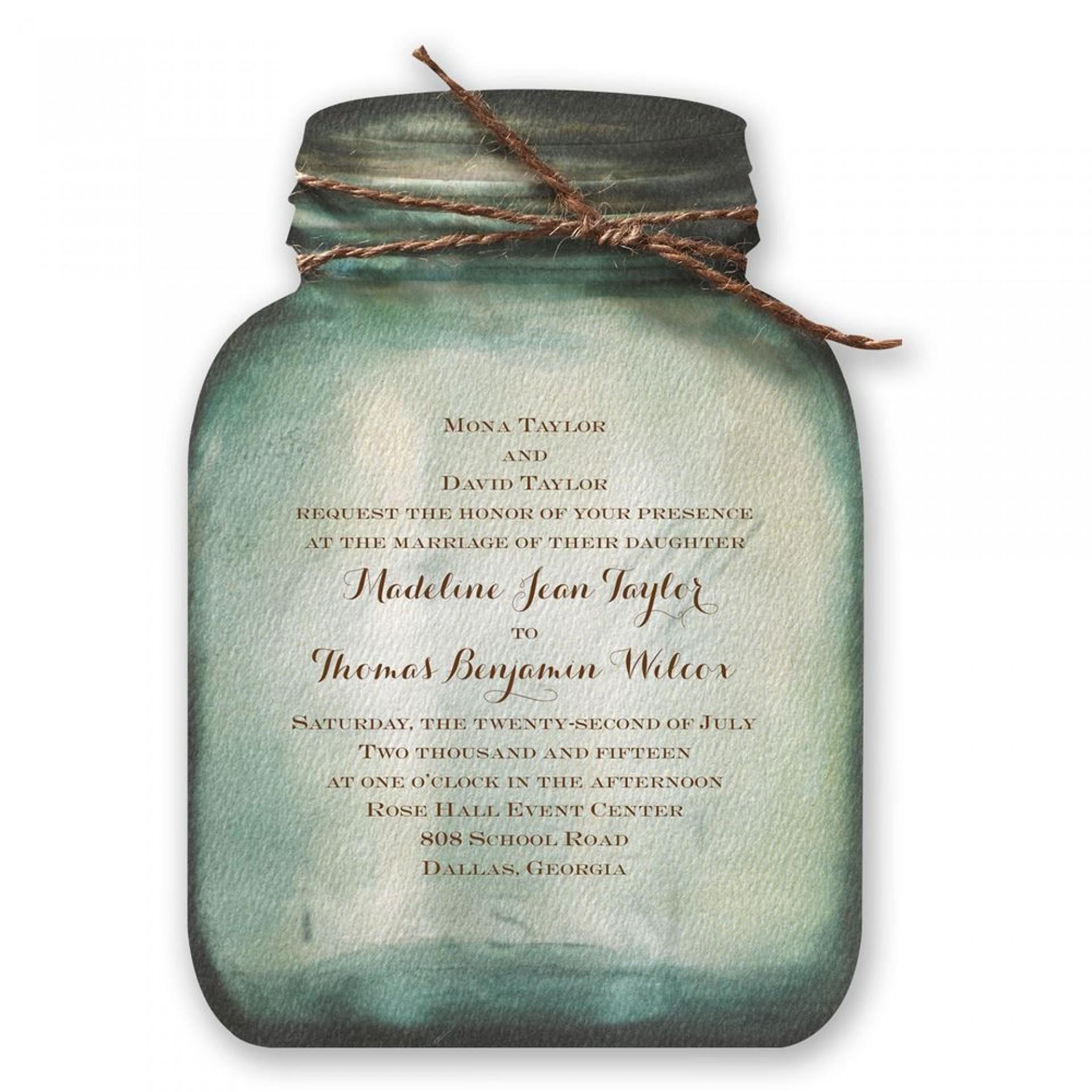 007 Remarkable Mason Jar Invitation Template Image  Free Wedding Shower Rustic1920