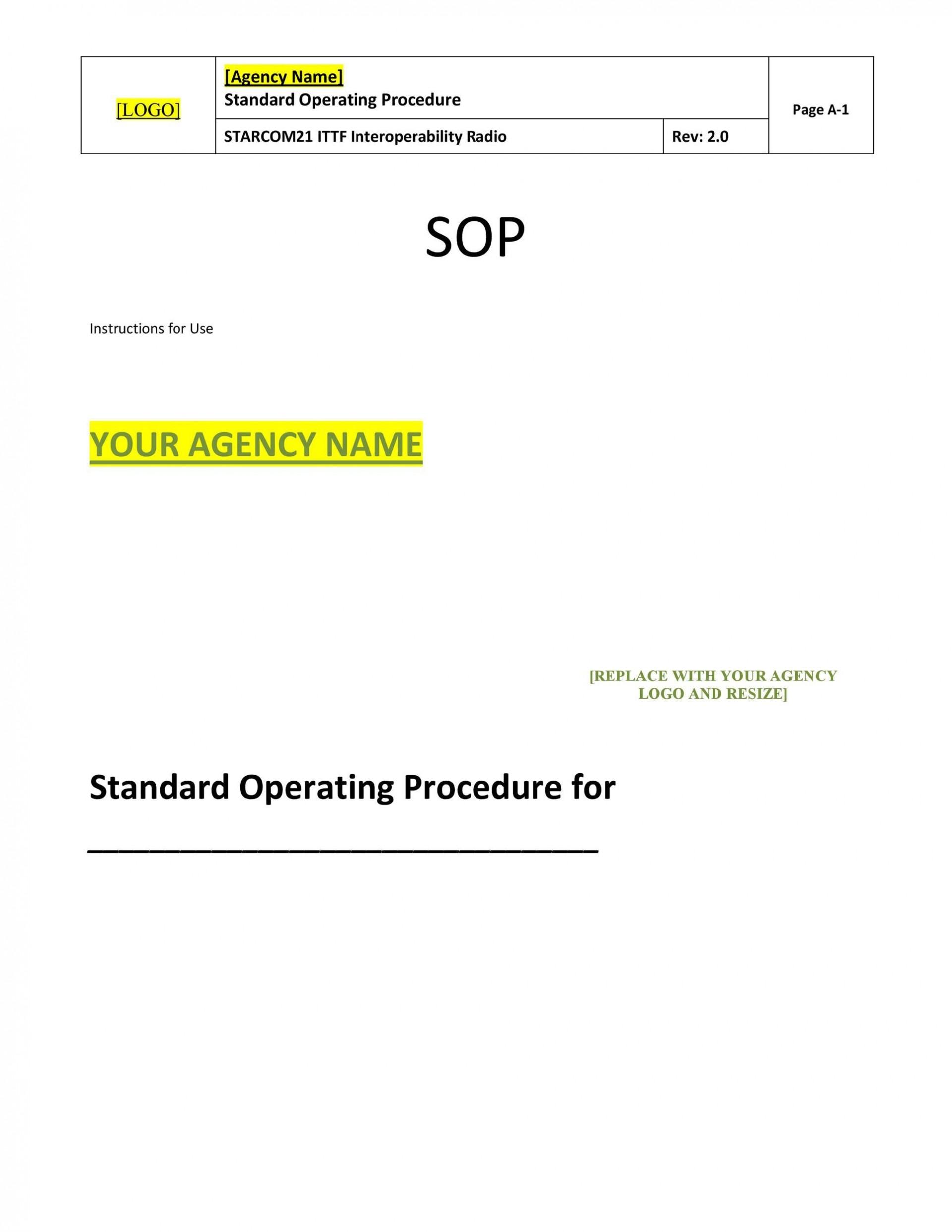 Free Standard Operating Procedure Template Word 21 Within Free Standard Operating Procedure Template Word 2010