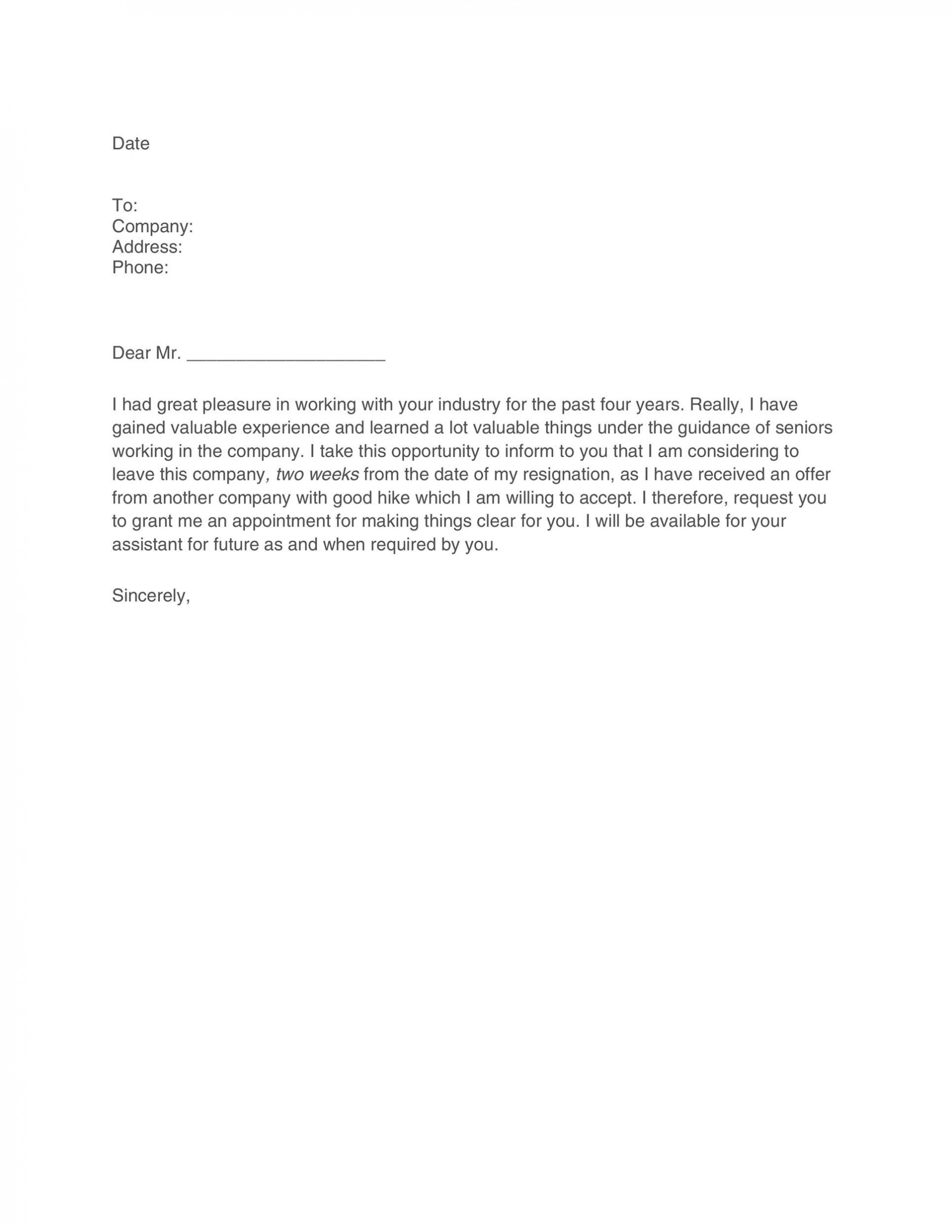 007 Remarkable Two Week Notice Letter Template Highest Quality  Free Professional 21920