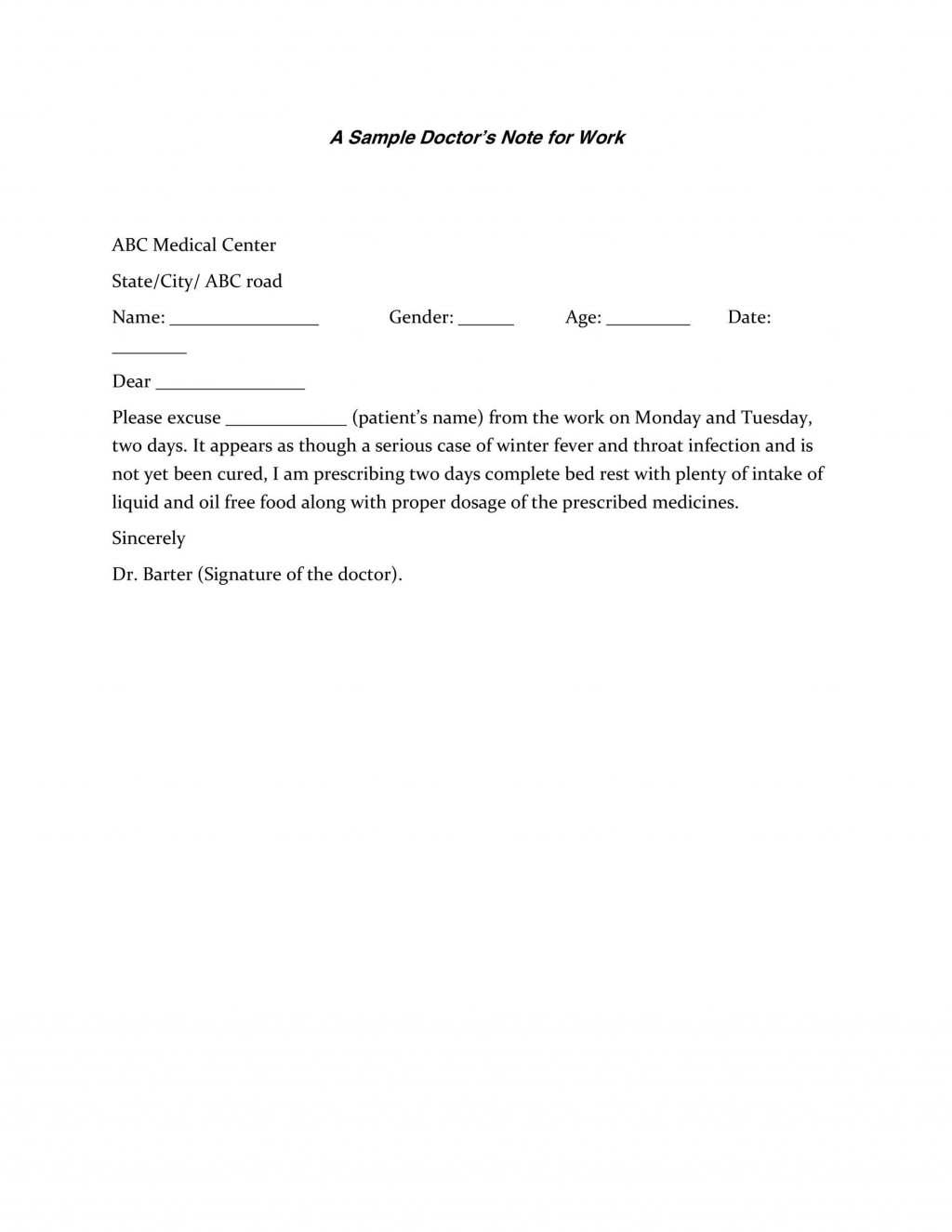 007 Sensational Doctor Note For Work Template Photo  Doctor' Missing Excuse PdfLarge