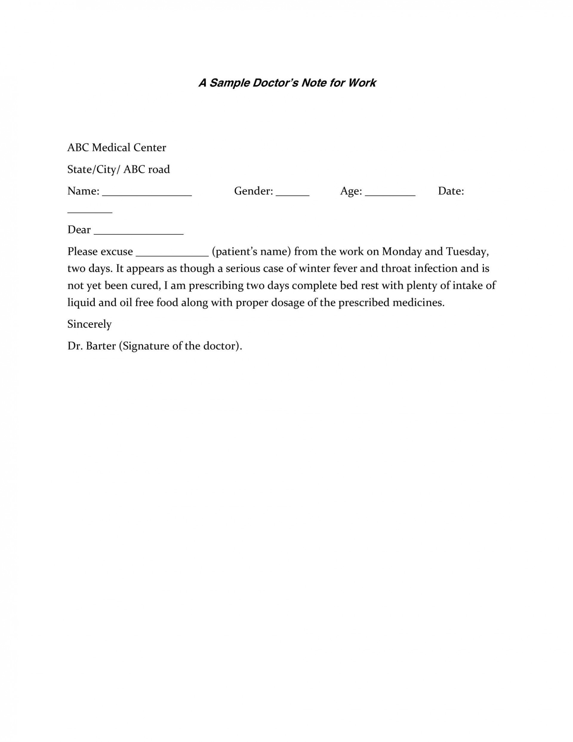 007 Sensational Doctor Note For Work Template Photo  Doctor' Missing Excuse Pdf1920