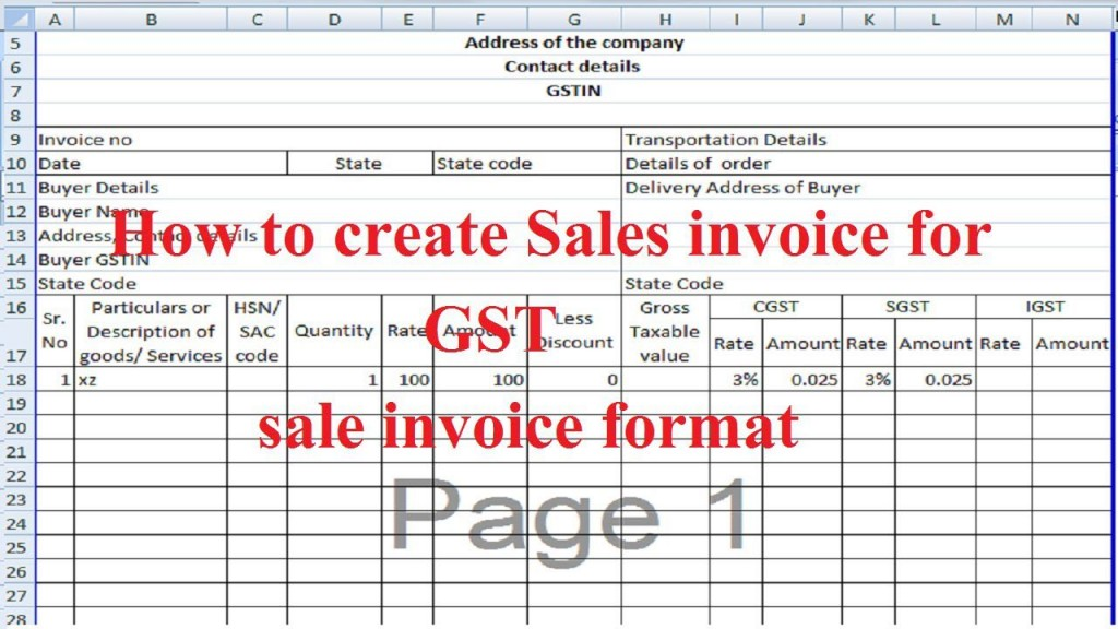 007 Sensational Excel Gst Invoice Format Download Image  In Pdf Tally Tax Free SheetLarge