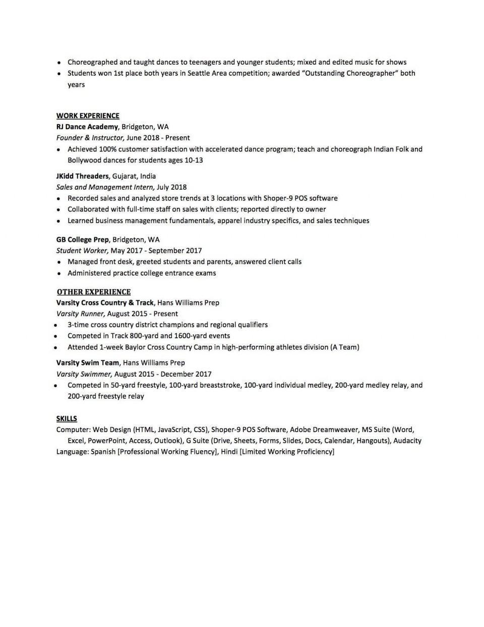 007 Sensational High School Student Resume Template Design  Free Google Doc960