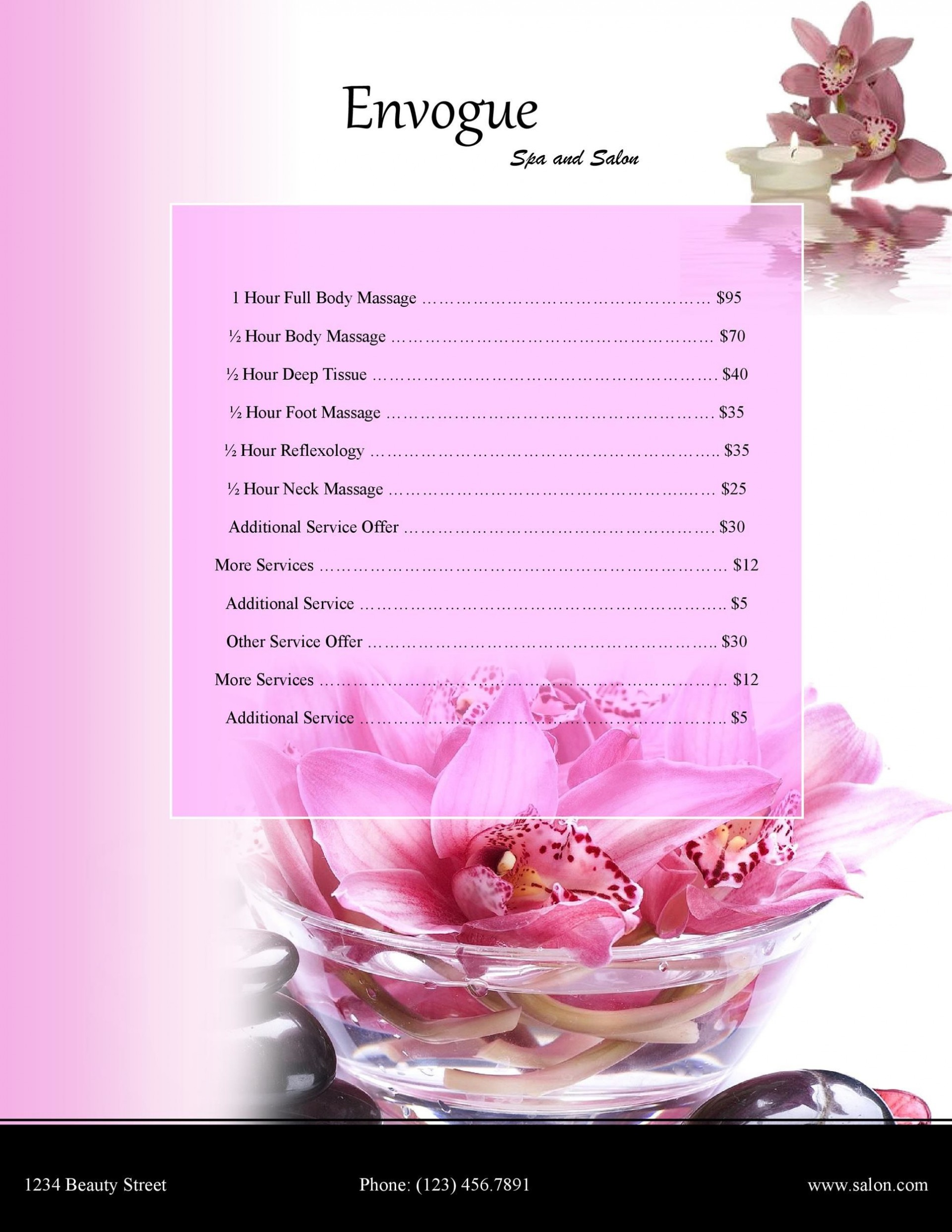 Salon Price List Template Sample