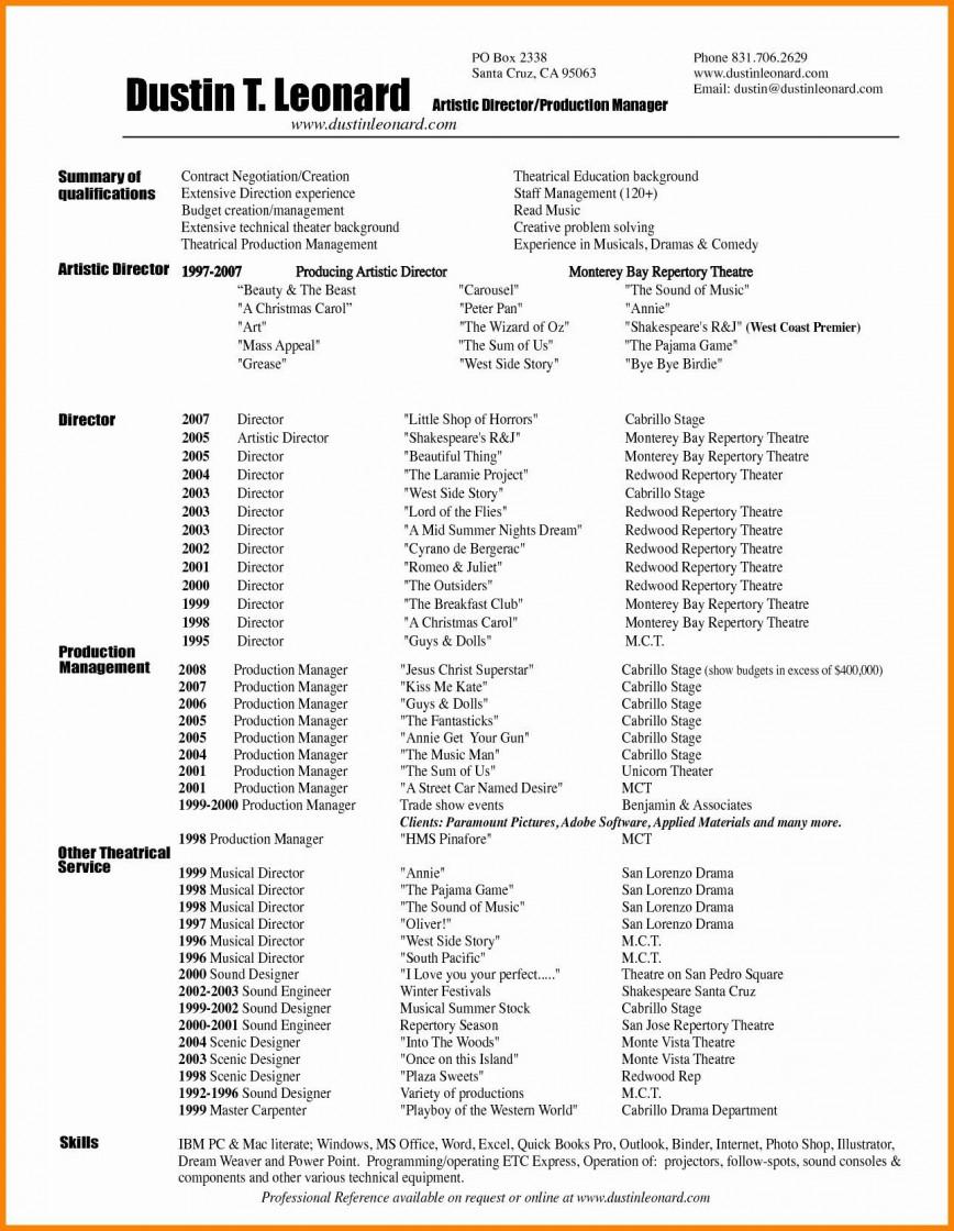007 Sensational Technical Theatre Resume Template Concept  Google Doc Tech868