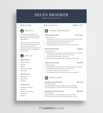 007 Sensational Word Resume Template Free Download Highest Quality  M Creative Curriculum Vitae Cv360