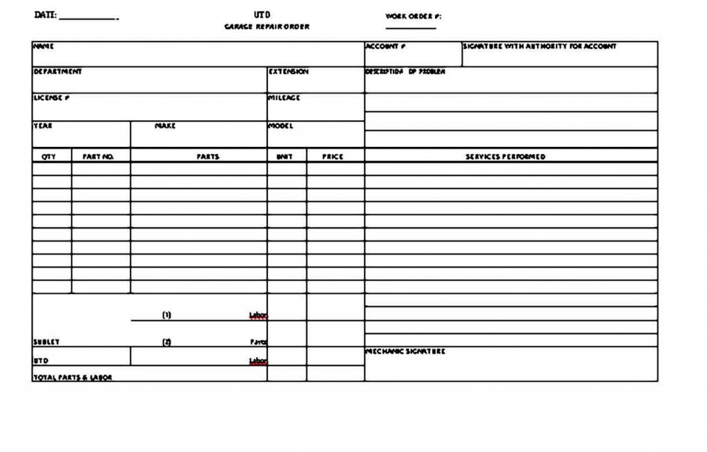 007 Shocking Auto Repair Invoice Template Free Image  Excel Printable PdfLarge