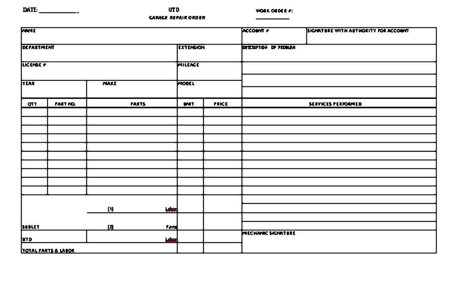 007 Shocking Auto Repair Invoice Template Free Image  Excel Printable PdfFull