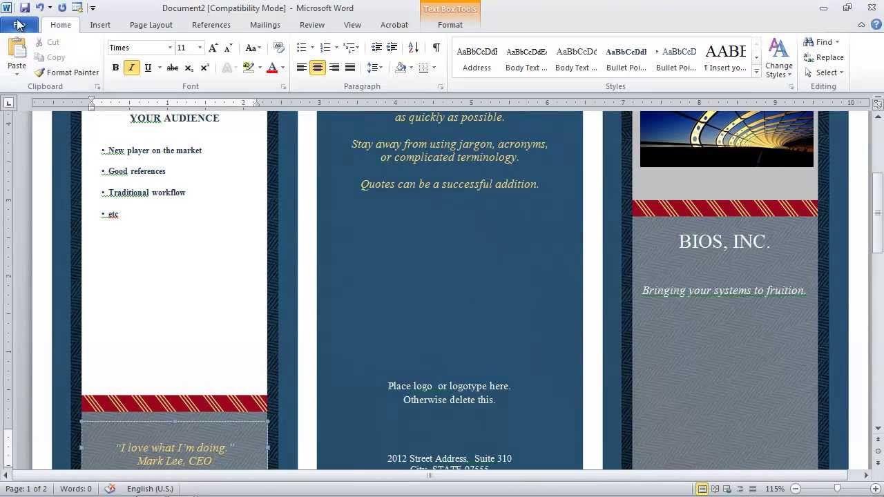 007 Shocking Brochure Template For Word Mac Image  Tri Fold FreeFull