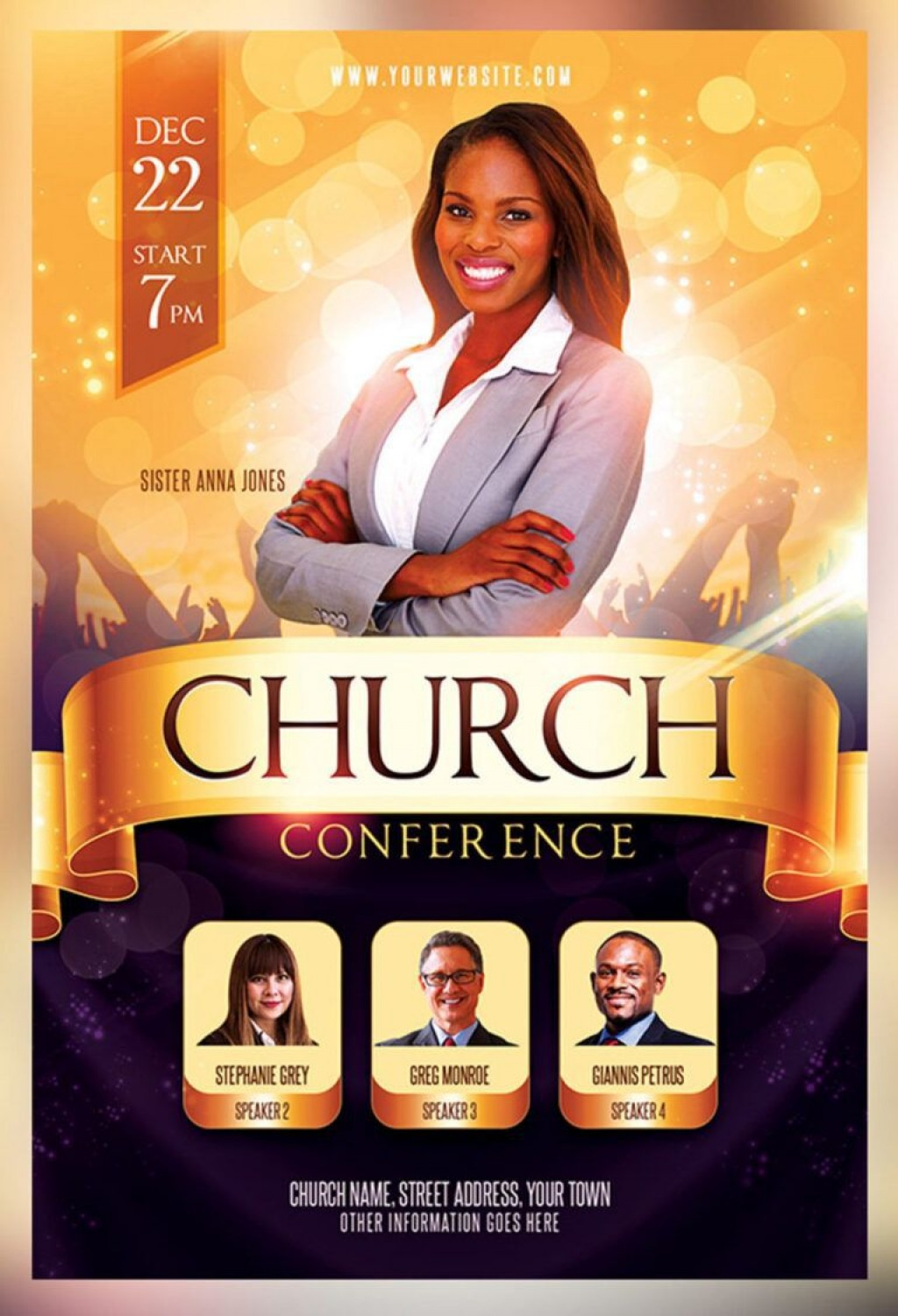 007 Shocking Church Flyer Template Free High Def  Easter Anniversary Conference PsdLarge