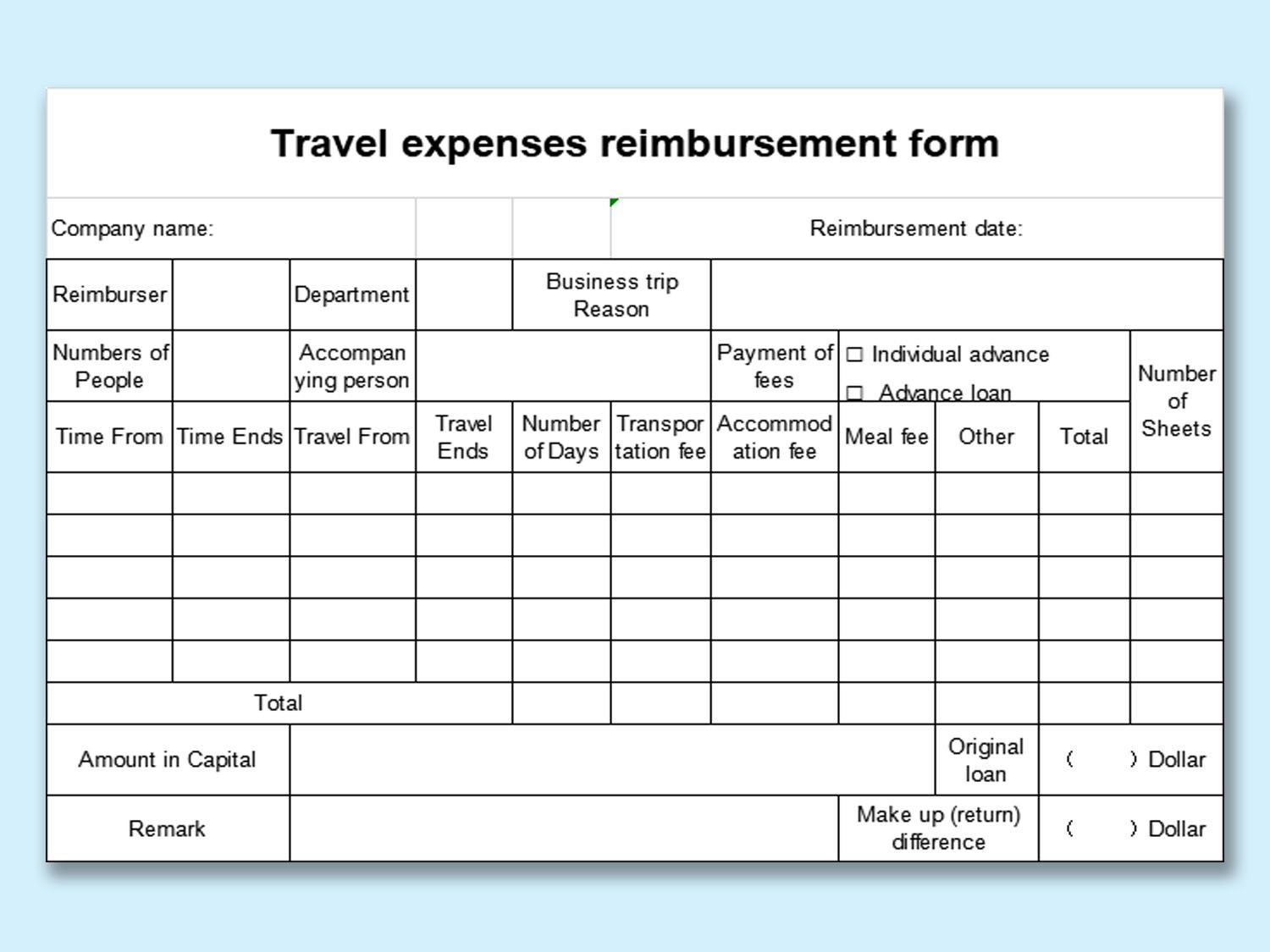007 Shocking Excel Busines Travel Expense Template Image Full