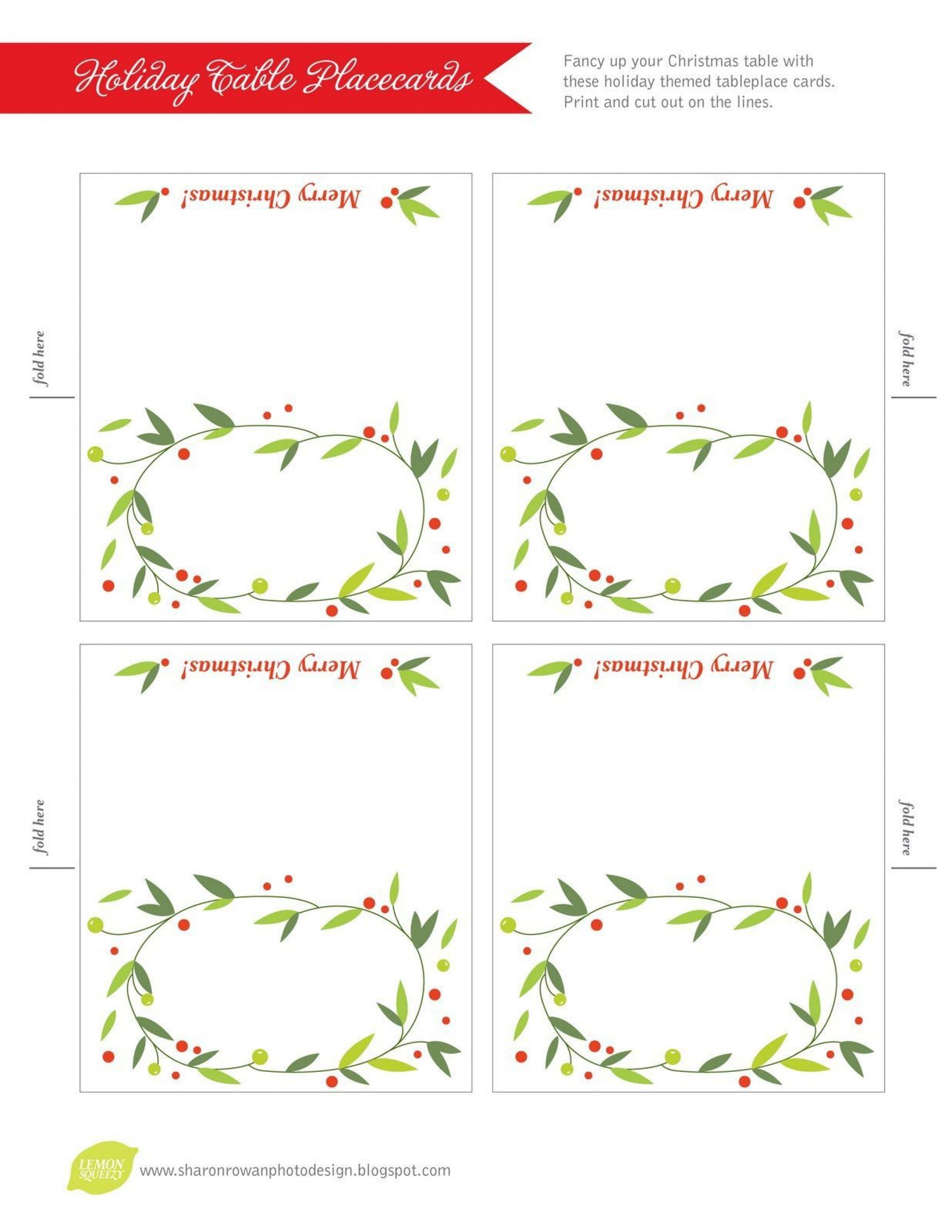 007 Shocking Free Printable Place Card Template Concept  Blank Wedding Christma Table1920