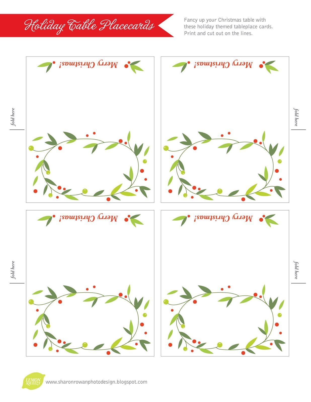 007 Shocking Free Printable Place Card Template Concept  Blank Wedding Christma TableFull